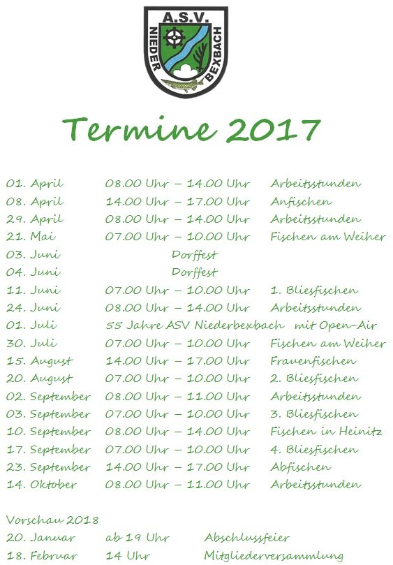 2017-Terminuebersicht